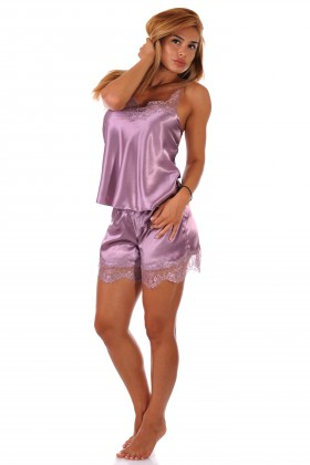 Sheer Lace & Shorts Lilac